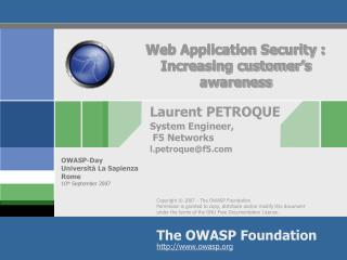 Web Application Security : Increasing customer's awareness