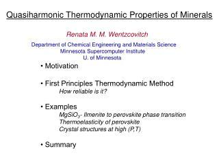 Quasiharmonic Thermodynamic Properties of Minerals