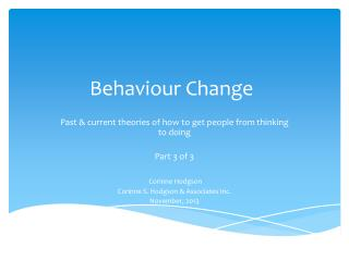 Behaviour Change