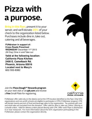Valid at the following location: California Pizza Kitchen 2400 E. Camelback Rd.