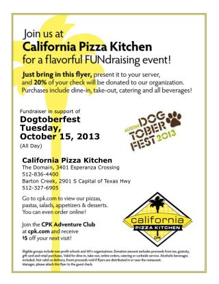 Fundraiser in support of Dogtoberfest Tuesday,  October 15, 2013 (All Day)