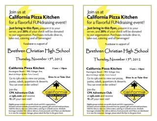 Fundraiser in support of Brethren Christian High School Thursday, November 15 th , 2012