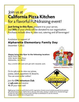 Fundraiser in support of Alpharetta Elementary Family Day December 7,2012