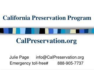 California Preservation Program