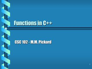 Functions in C++