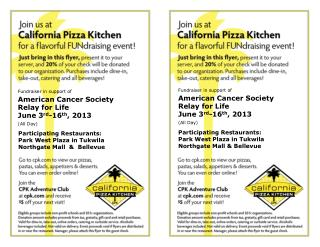 Fundraiser in support of American Cancer Society Relay for Life June 3 rd -16 th , 2013 (All Day)