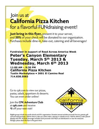California Pizza Kitchen Tustin Marketplace • 3001 El Camino Real 714.838.5083