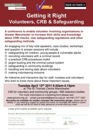 Getting it Right Volunteers, CRB & Safeguarding