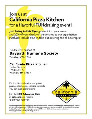 Fundraiser in support of Baypath Humane Society Tuesday, 9/30/2014