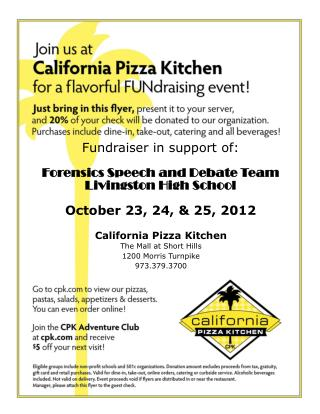 California Pizza Kitchen The Mall at Short Hills 1200 Morris Turnpike 973.379.3700