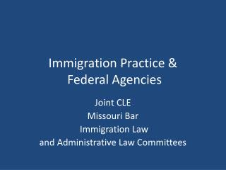 Immigration Practice &  Federal Agencies