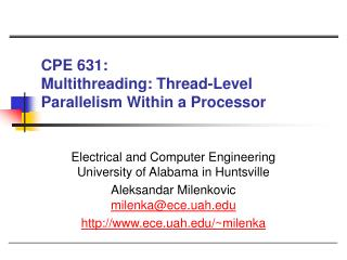 CPE 631:  Multithreading: Thread-Level Parallelism Within a Processor
