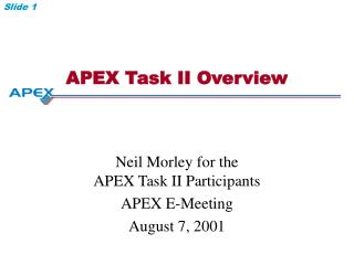 APEX Task II Overview