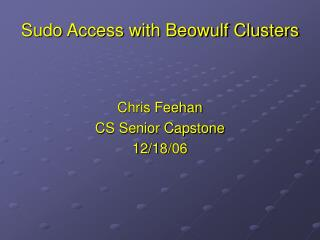 Sudo Access with Beowulf Clusters