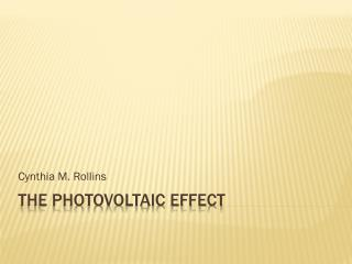 The photovoltaic effect