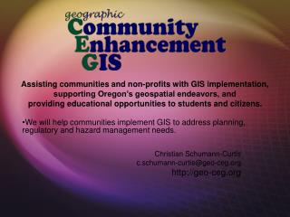 Assisting communities and non-profits with GIS implementation,