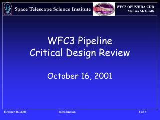 WFC3 Pipeline Critical Design Review October 16, 2001