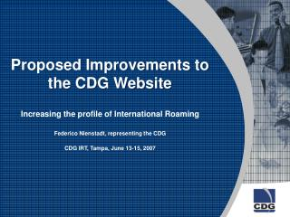 Proposed Improvements to the CDG Website