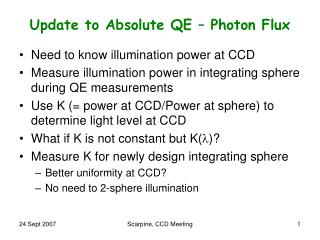 Update to Absolute QE – Photon Flux