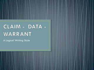 CLAIM -  DATA - WARRANT