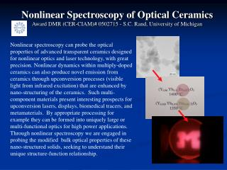 Nonlinear Spectroscopy of Optical Ceramics