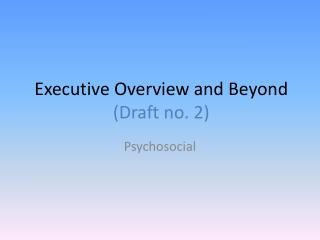 Executive Overview and Beyond  (Draft no. 2)