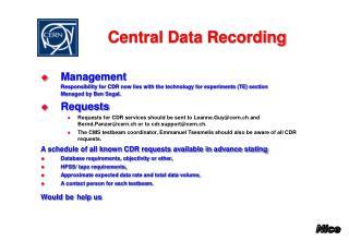 Central Data Recording