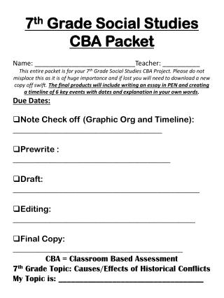 7 th  Grade Social Studies CBA Packet Name: ___________________________Teacher: __________