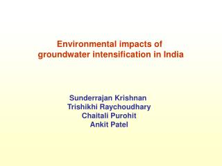 Environmental impacts of  groundwater intensification in India