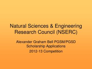 Natural Sciences & Engineering Research Council (NSERC)