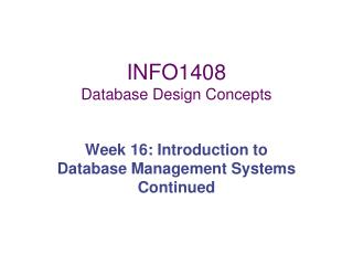 INFO1408 Database Design Concepts