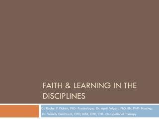 Faith & Learning in The disciplines