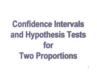 Confidence Intervals and Hypothesis Tests for Two Proportions