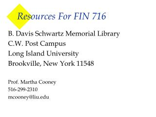 Resources For FIN 716
