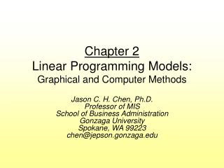 Chapter 2 Linear Programming Models: Graphical and Computer Methods