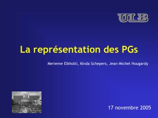 La repr�sentation des PGs
