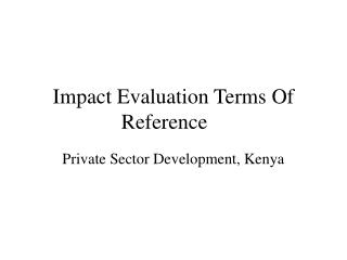 Impact Evaluation Terms Of Reference