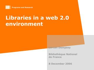 Libraries in a web 2.0 environment