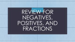 Review For Negatives, Positives, and Fractions