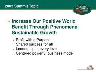 2003 Summit Topic