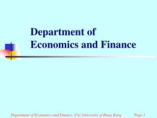 Department of Economics and Finance