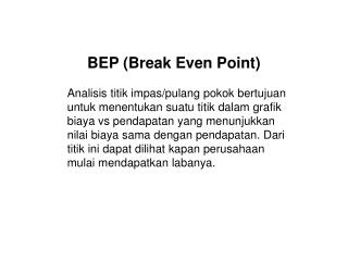 BEP (Break Even Point)