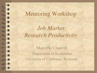 Mentoring Workshop Job Market Research Productivity