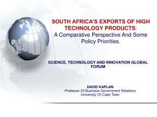 DAVID KAPLAN Professor Of Business Government Relations University Of Cape Town