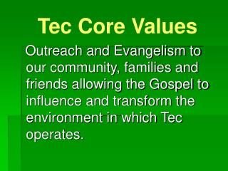 Tec Core Values