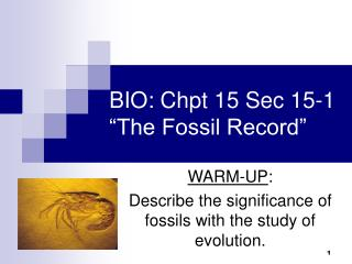 "BIO: Chpt 15 Sec 15-1 ""The Fossil Record"""