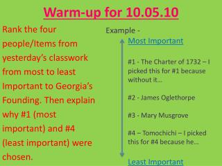 Warm-up for 10.05.10