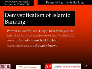 Demystification of Islamic Banking