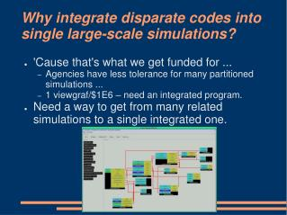 Why integrate disparate codes into single large-scale simulations?