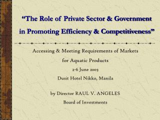 """The Role of Private Sector & Government  in Promoting Efficiency & Competitiveness"""